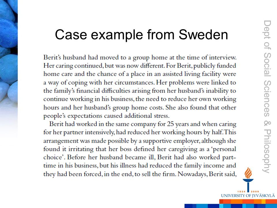Dept of Social Sciences & Philosophy Case example from Sweden