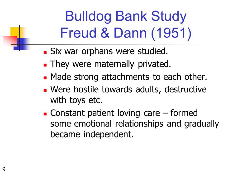 Bulldog Bank Study Freud & Dann (1951) Six war orphans were studied.