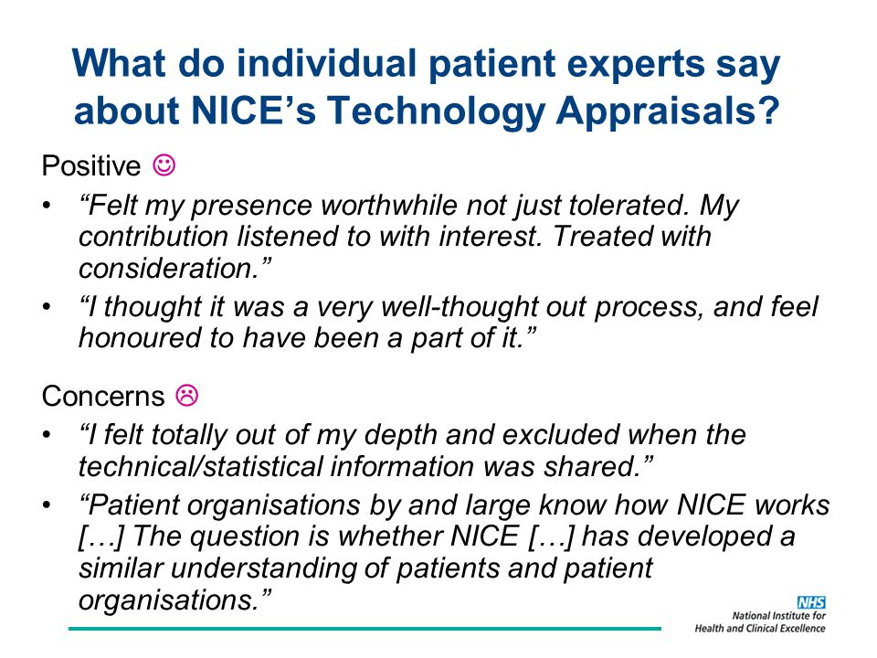 What do individual patient experts say about NICE's Technology Appraisals.