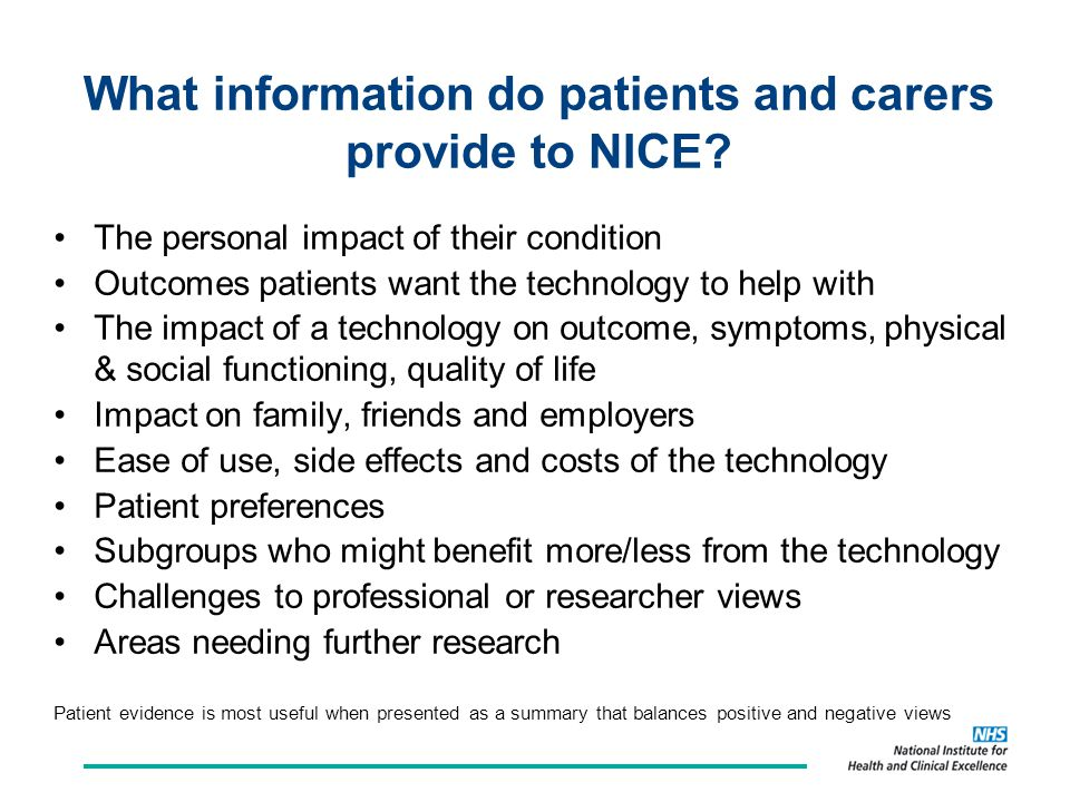 What information do patients and carers provide to NICE.