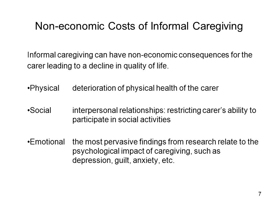 8 Canadian Public Policy Responses Relatively few current Canadian public policies are designed to support informal caregivers by reducing their economic costs.
