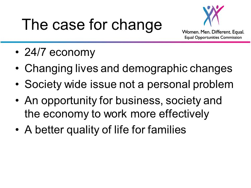 The case for change 24/7 economy Changing lives and demographic changes Society wide issue not a personal problem An opportunity for business, society and the economy to work more effectively A better quality of life for families