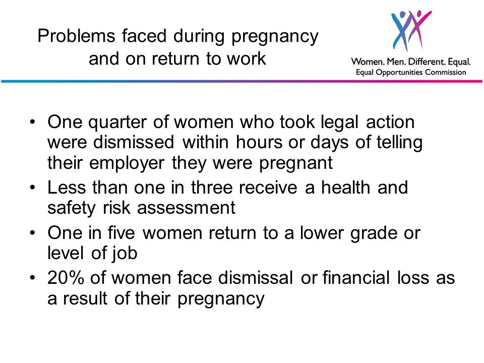 Problems faced during pregnancy and on return to work One quarter of women who took legal action were dismissed within hours or days of telling their employer they were pregnant Less than one in three receive a health and safety risk assessment One in five women return to a lower grade or level of job 20% of women face dismissal or financial loss as a result of their pregnancy