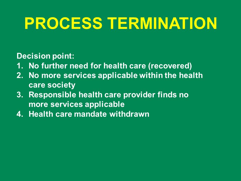 PROCESS TERMINATION Decision point: 1.No further need for health care (recovered) 2.No more services applicable within the health care society 3.Responsible health care provider finds no more services applicable 4.Health care mandate withdrawn
