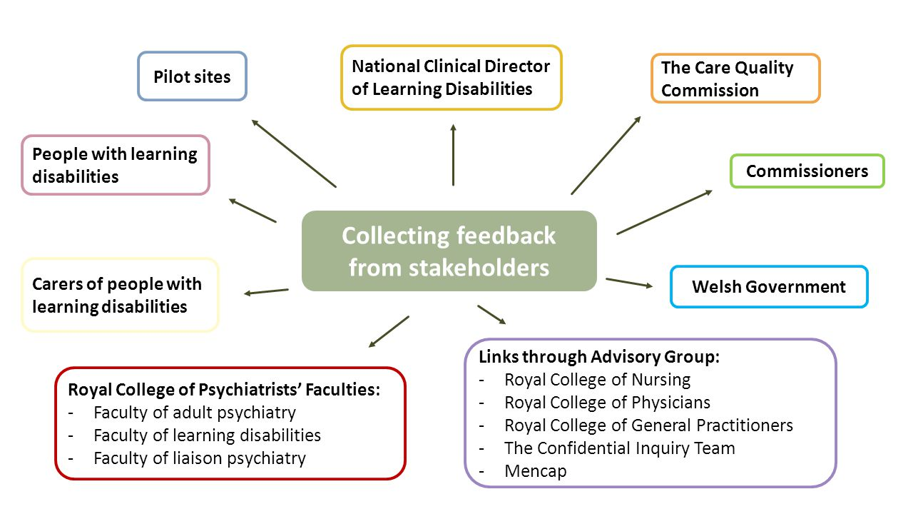 Collecting feedback from stakeholders Pilot sites People with learning disabilities Carers of people with learning disabilities The Care Quality Commission National Clinical Director of Learning Disabilities Commissioners Welsh Government Royal College of Psychiatrists' Faculties: -Faculty of adult psychiatry -Faculty of learning disabilities -Faculty of liaison psychiatry Links through Advisory Group: -Royal College of Nursing -Royal College of Physicians -Royal College of General Practitioners -The Confidential Inquiry Team -Mencap