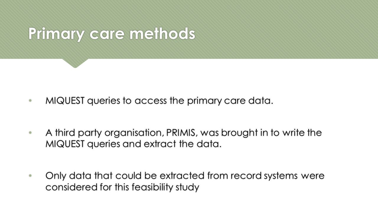 Primary care methods MIQUEST queries to access the primary care data.