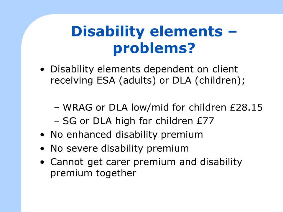 Disability elements – problems.