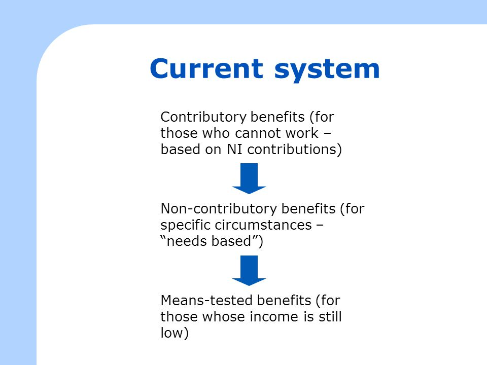 Current system Contributory benefits (for those who cannot work – based on NI contributions) Non-contributory benefits (for specific circumstances – ""