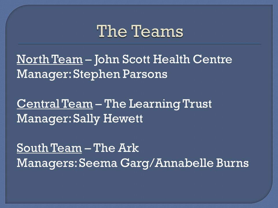 North Team – John Scott Health Centre Manager: Stephen Parsons Central Team – The Learning Trust Manager: Sally Hewett South Team – The Ark Managers: