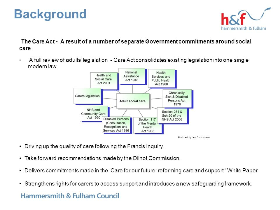 Background The Care Act - A result of a number of separate Government commitments around social care A full review of adults' legislation - Care Act c