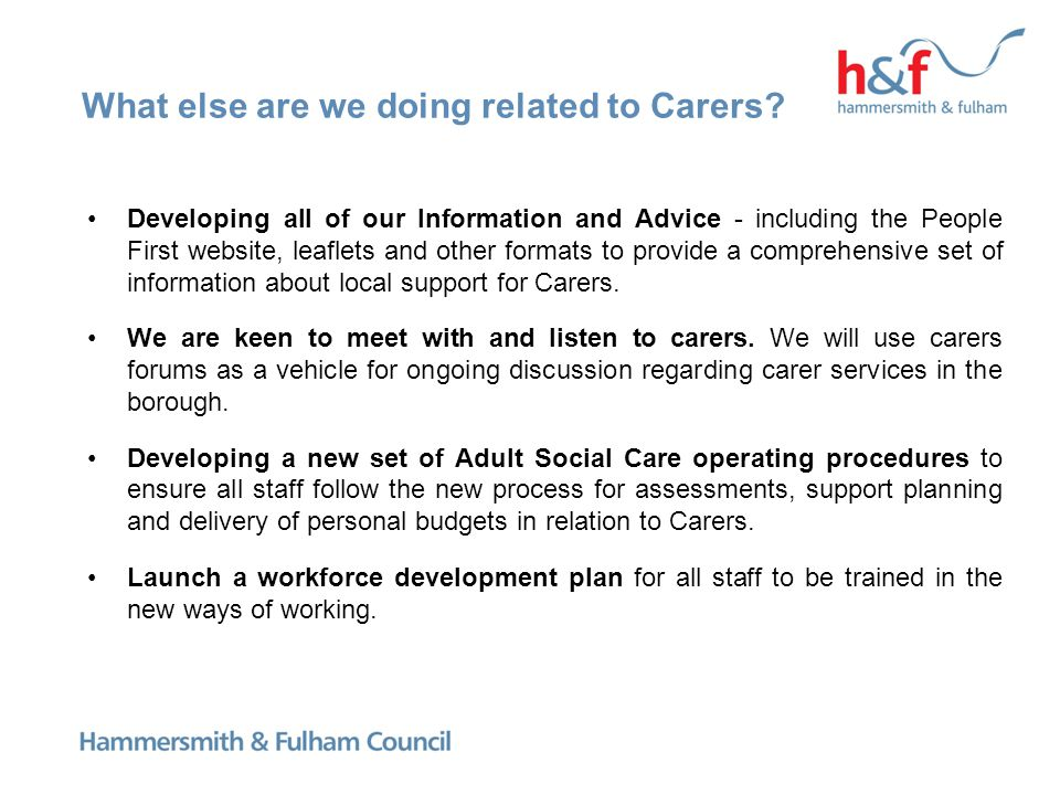 What else are we doing related to Carers.