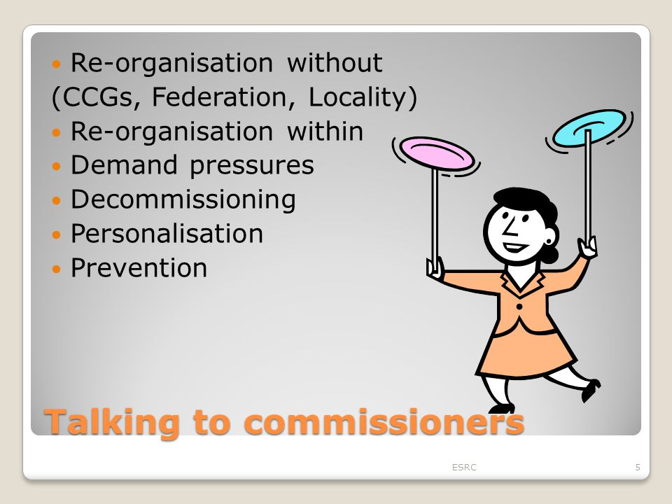 Talking to commissioners Re-organisation without (CCGs, Federation, Locality) Re-organisation within Demand pressures Decommissioning Personalisation