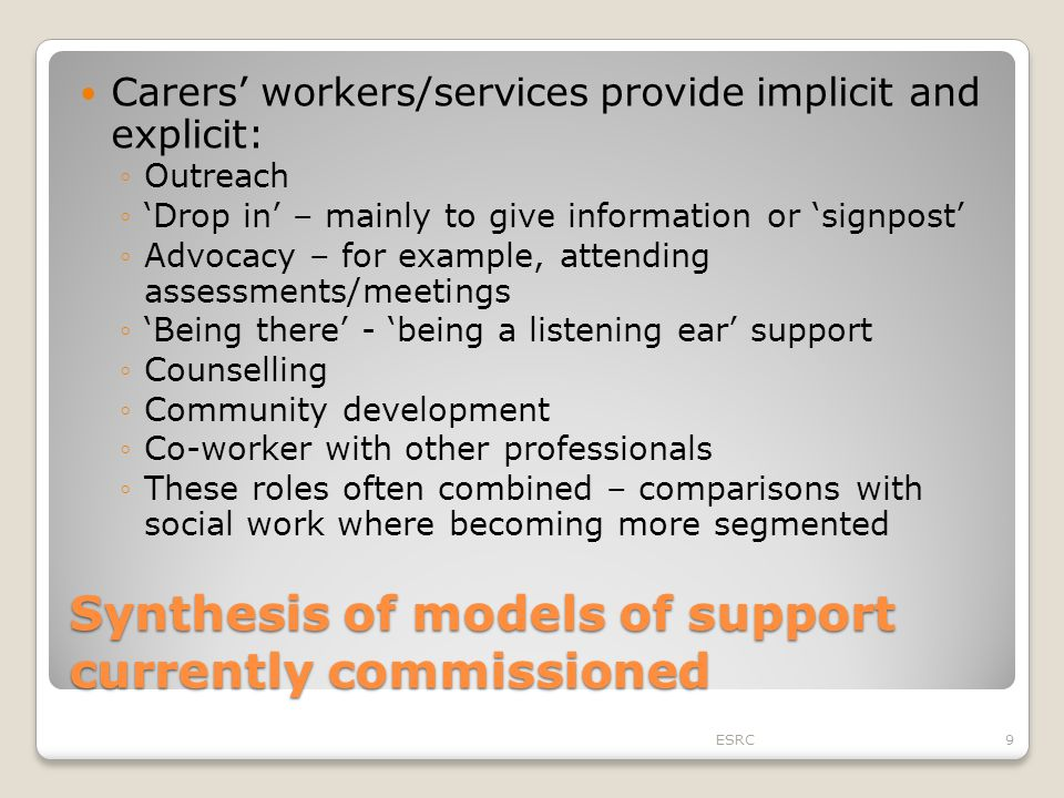 Synthesis of models of support currently commissioned Carers' workers/services provide implicit and explicit: ◦Outreach ◦'Drop in' – mainly to give in