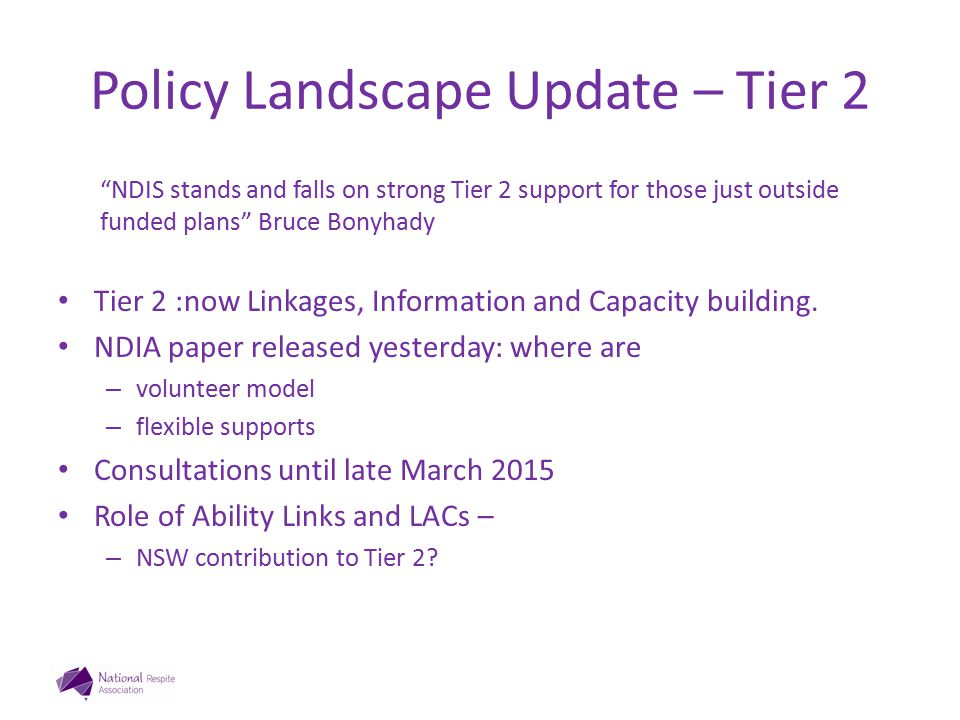 Policy Landscape Update – Tier 2 NDIA paper – five streams 1.Information, linkages and referrals 2.Capacity building for mainstream services 3.Community awareness and capacity building 4.Individual capacity building 5.Local area co-ordination
