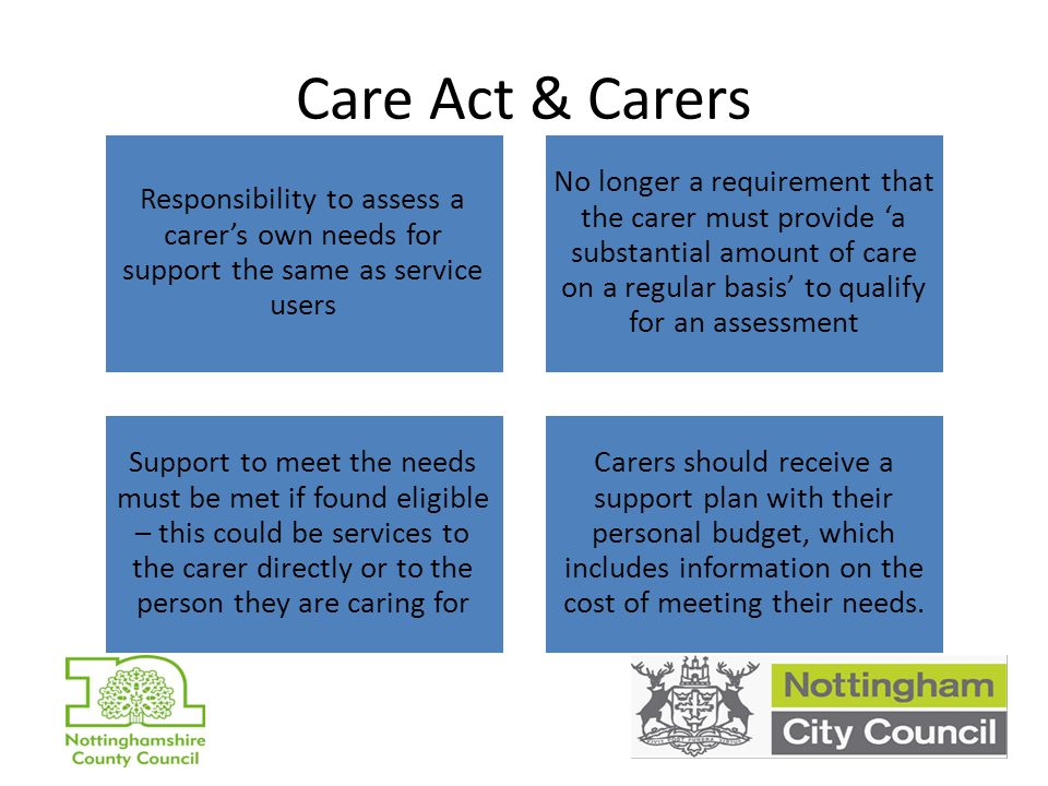 Nottingham Joint Carer Strategy Revised carer assessment Accessible information for carers Carer Breaks Primary Care support for Carers Dementia and End of Life Care Condition specific support