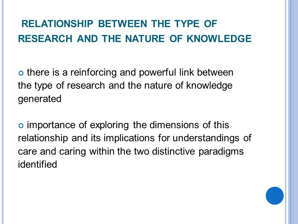RELATIONSHIP BETWEEN THE TYPE OF RESEARCH AND THE NATURE OF KNOWLEDGE there is a reinforcing and powerful link between the type of research and the nature of knowledge generated importance of exploring the dimensions of this relationship and its implications for understandings of care and caring within the two distinctive paradigms identified