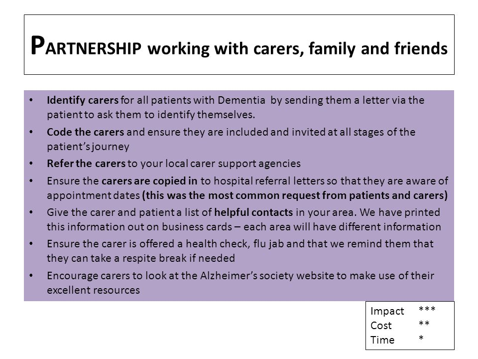 P ARTNERSHIP working with carers, family and friends Identify carers for all patients with Dementia by sending them a letter via the patient to ask them to identify themselves.