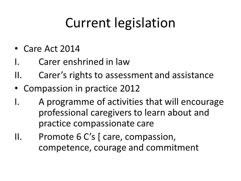 Current legislation Care Act 2014 I.Carer enshrined in law II.