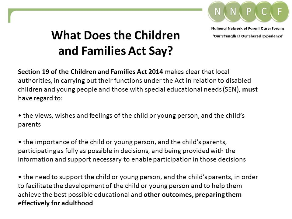 What Does the Children and Families Act Say.