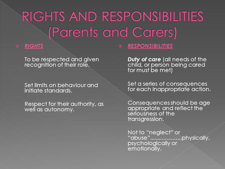 RIGHTS - To be respected and given recognition of their role. - Set limits on behaviour and initiate standards. - Respect for their authority, as we