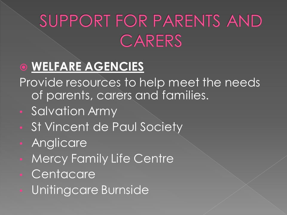  WELFARE AGENCIES Provide resources to help meet the needs of parents, carers and families.