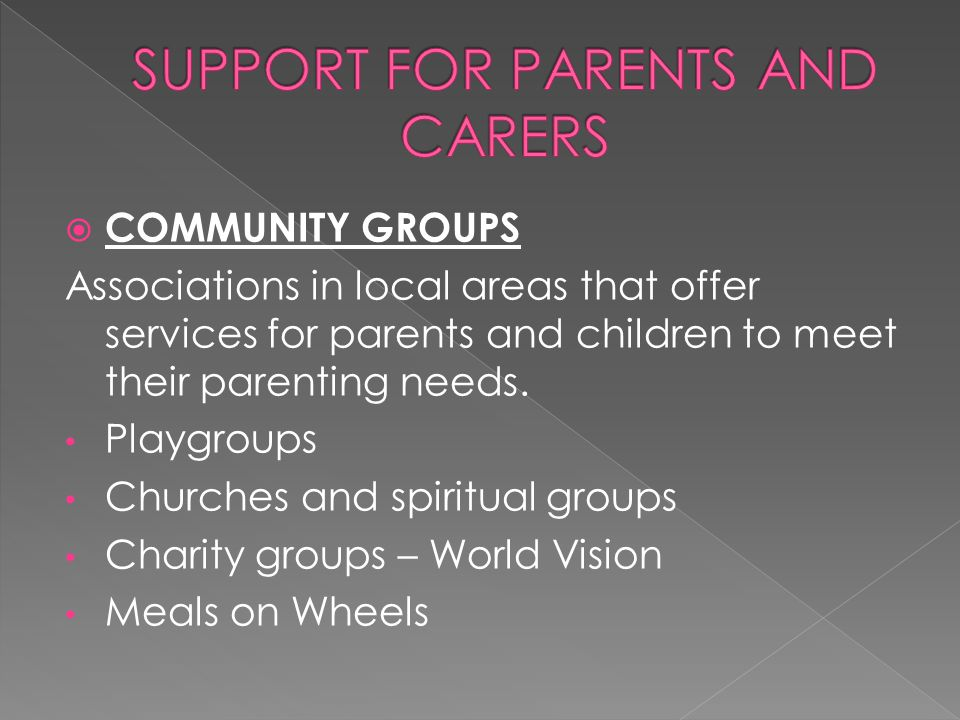  COMMUNITY GROUPS Associations in local areas that offer services for parents and children to meet their parenting needs. Playgroups Churches and spi