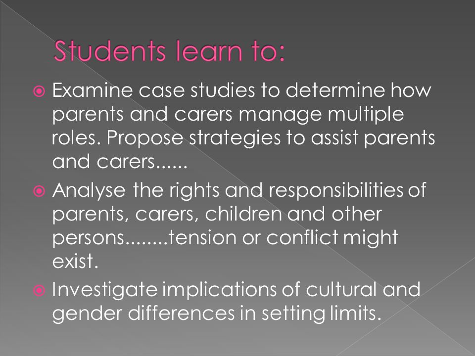  Examine case studies to determine how parents and carers manage multiple roles. Propose strategies to assist parents and carers......  Analyse the