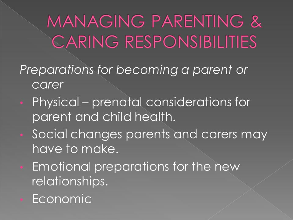 Preparations for becoming a parent or carer Physical – prenatal considerations for parent and child health. Social changes parents and carers may have