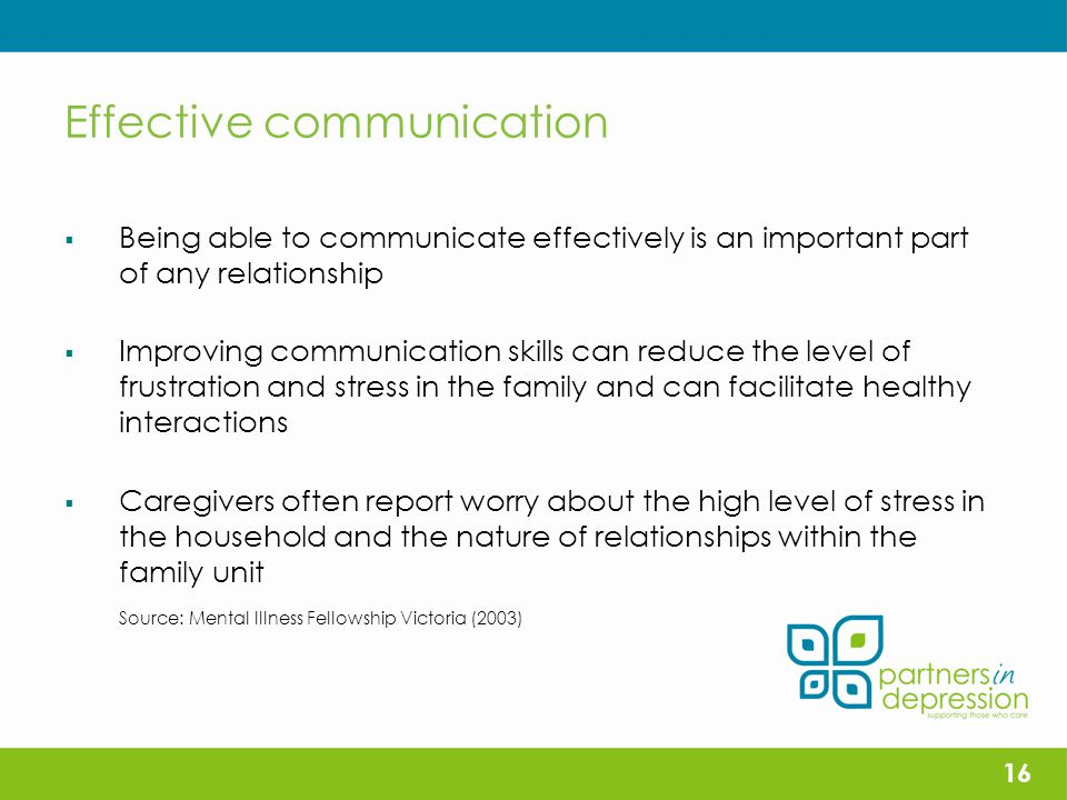 Effective communication  Being able to communicate effectively is an important part of any relationship  Improving communication skills can reduce the level of frustration and stress in the family and can facilitate healthy interactions  Caregivers often report worry about the high level of stress in the household and the nature of relationships within the family unit Source: Mental Illness Fellowship Victoria (2003) 16