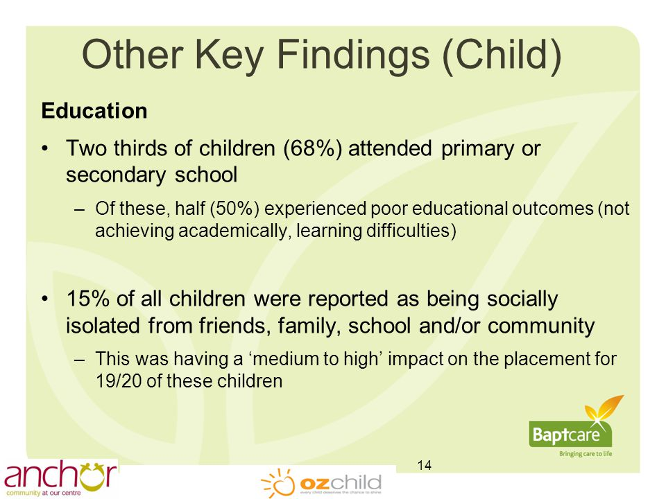 Other Key Findings (Child) Education Two thirds of children (68%) attended primary or secondary school –Of these, half (50%) experienced poor educational outcomes (not achieving academically, learning difficulties) 15% of all children were reported as being socially isolated from friends, family, school and/or community –This was having a 'medium to high' impact on the placement for 19/20 of these children 14