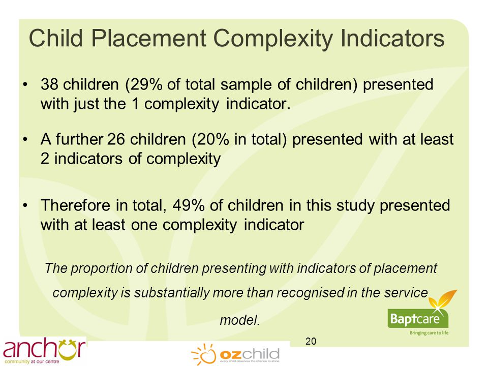 Child Placement Complexity Indicators 38 children (29% of total sample of children) presented with just the 1 complexity indicator.