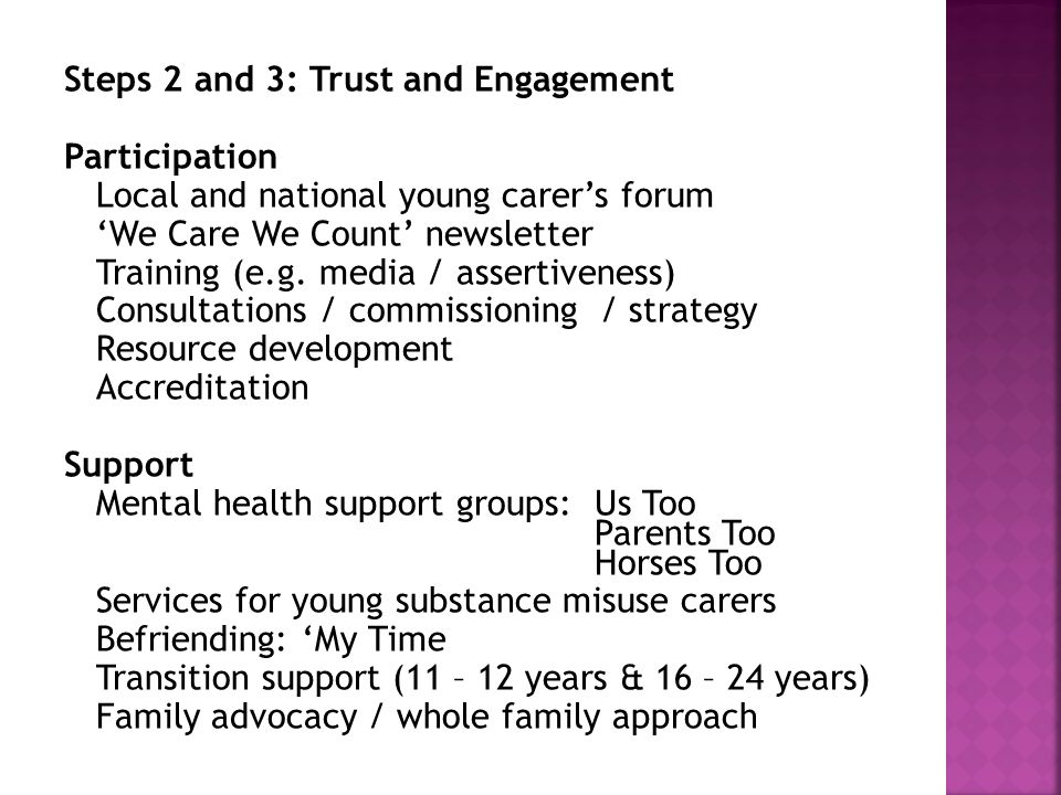Steps 2 and 3: Trust and Engagement Participation Local and national young carer's forum 'We Care We Count' newsletter Training (e.g.