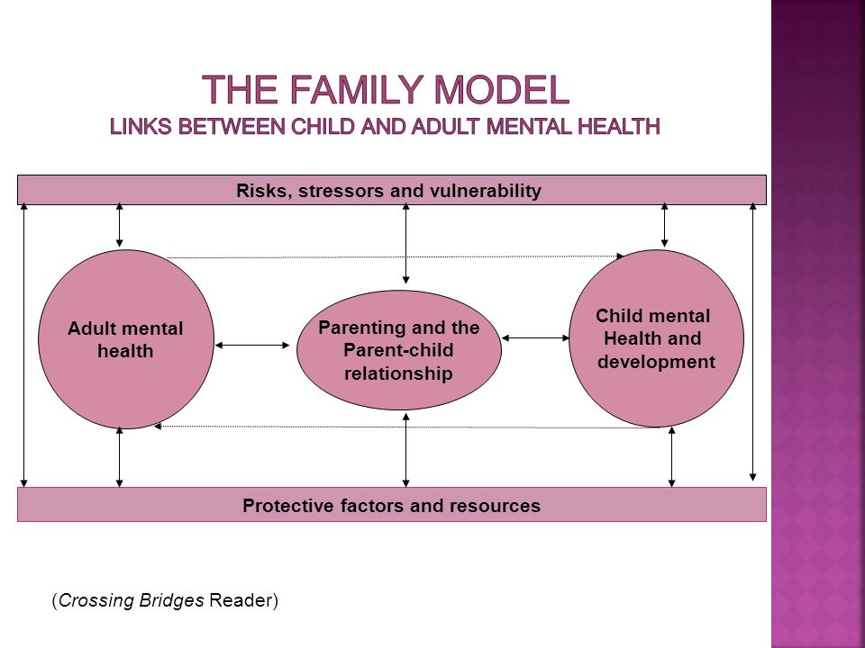 Adult mental health Child mental Health and development Parenting and the Parent-child relationship Risks, stressors and vulnerability Protective factors and resources (Crossing Bridges Reader)