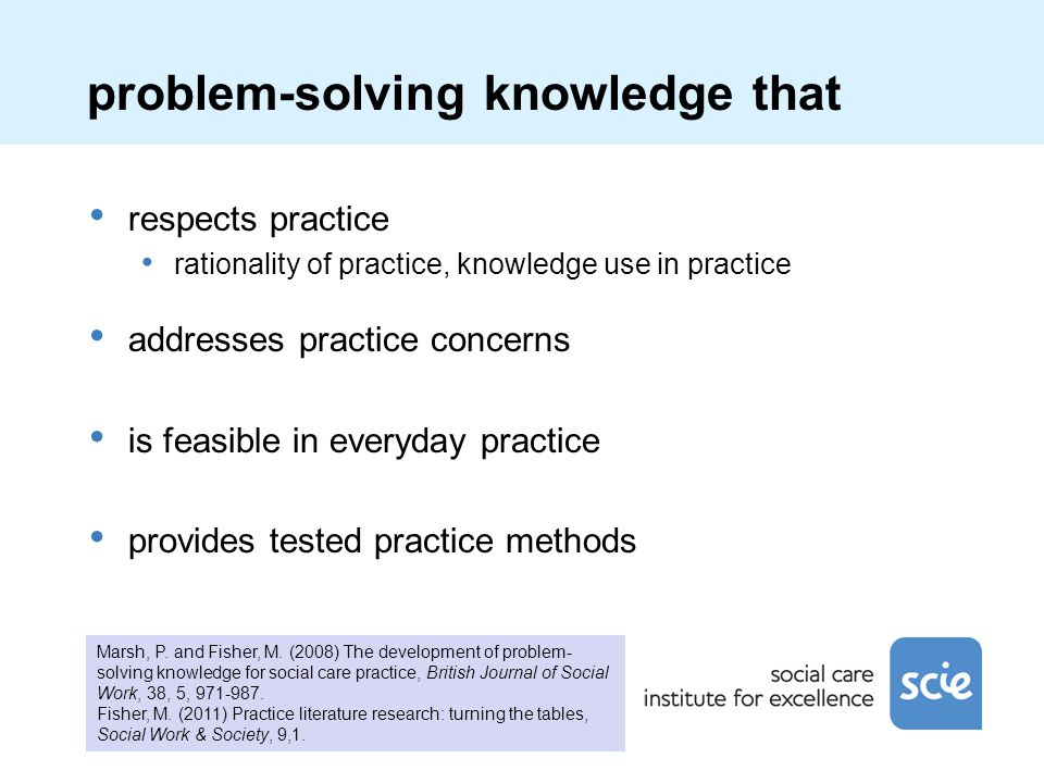 problem-solving knowledge that respects practice rationality of practice, knowledge use in practice addresses practice concerns is feasible in everyda