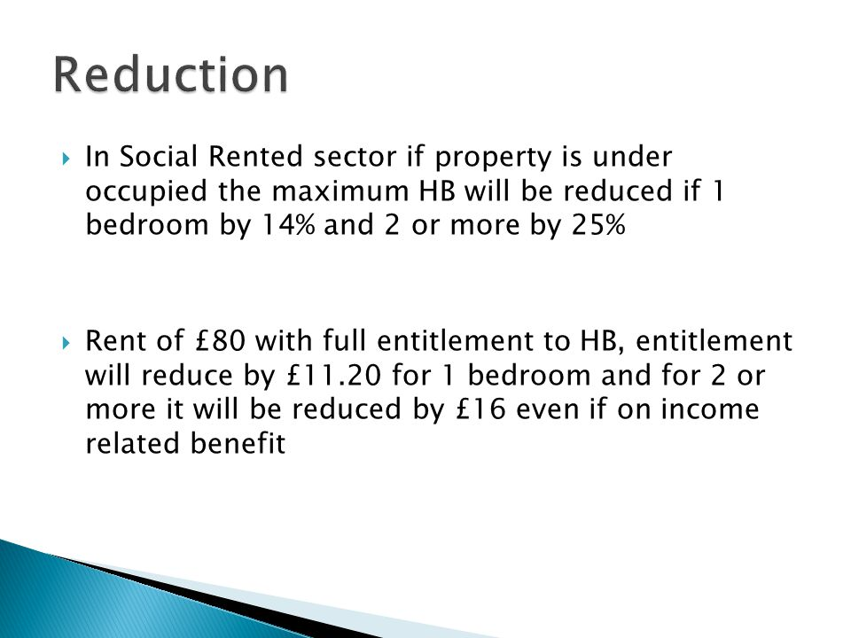  In Social Rented sector if property is under occupied the maximum HB will be reduced if 1 bedroom by 14% and 2 or more by 25%  Rent of £80 with full entitlement to HB, entitlement will reduce by £11.20 for 1 bedroom and for 2 or more it will be reduced by £16 even if on income related benefit