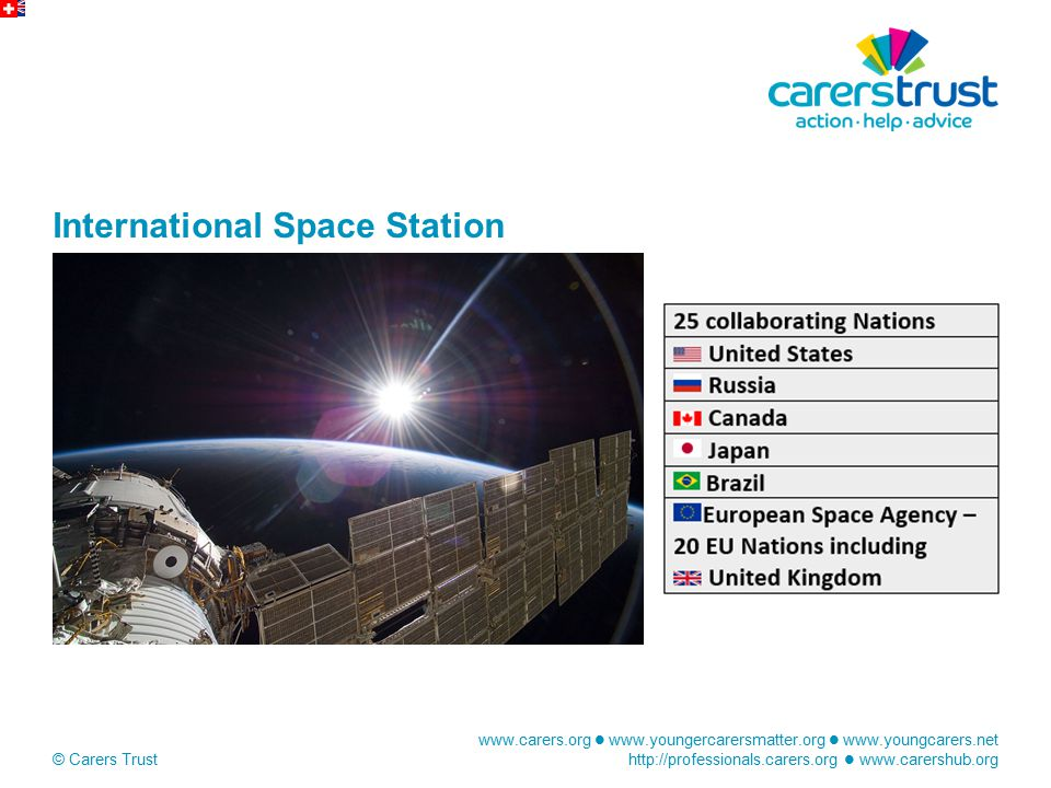 www.carers.org www.youngercarersmatter.org www.youngcarers.net http://professionals.carers.org www.carershub.org © Carers Trust International Space Station
