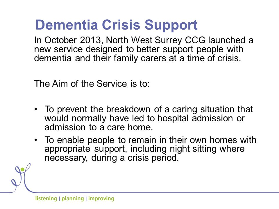 Why was it used.The most common reason for referral followed a breakdown of the caring situation.