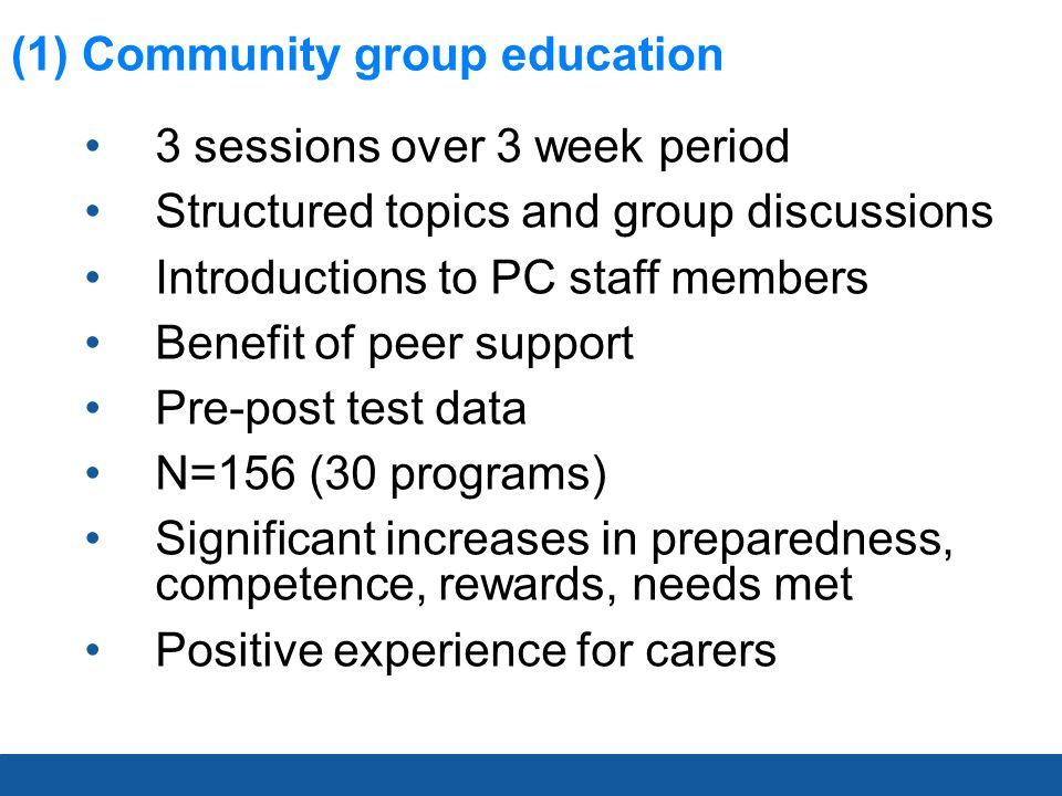 (2) Inpatient Group Education 1 x 1.5 hour session Structured topics and group discussions / activities Benefit of peer support Pre-post test data N=126 (52 sessions) Significant increases in preparedness, competence, needs met Positive experience for carers