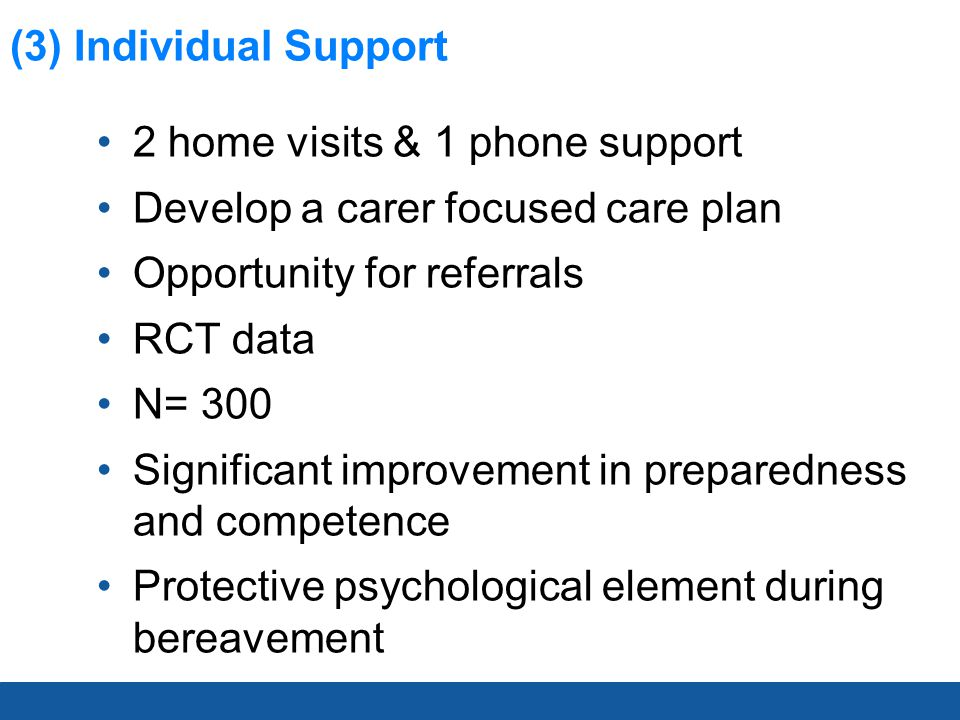 (3) Individual Support 2 home visits & 1 phone support Develop a carer focused care plan Opportunity for referrals RCT data N= 300 Significant improve