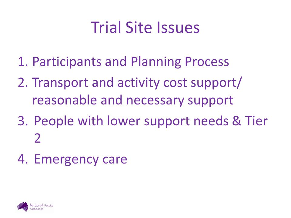 Trial Site Issues 1.Participants and Planning Process 2.Transport and activity cost support/ reasonable and necessary support 3.People with lower support needs & Tier 2 4.Emergency care