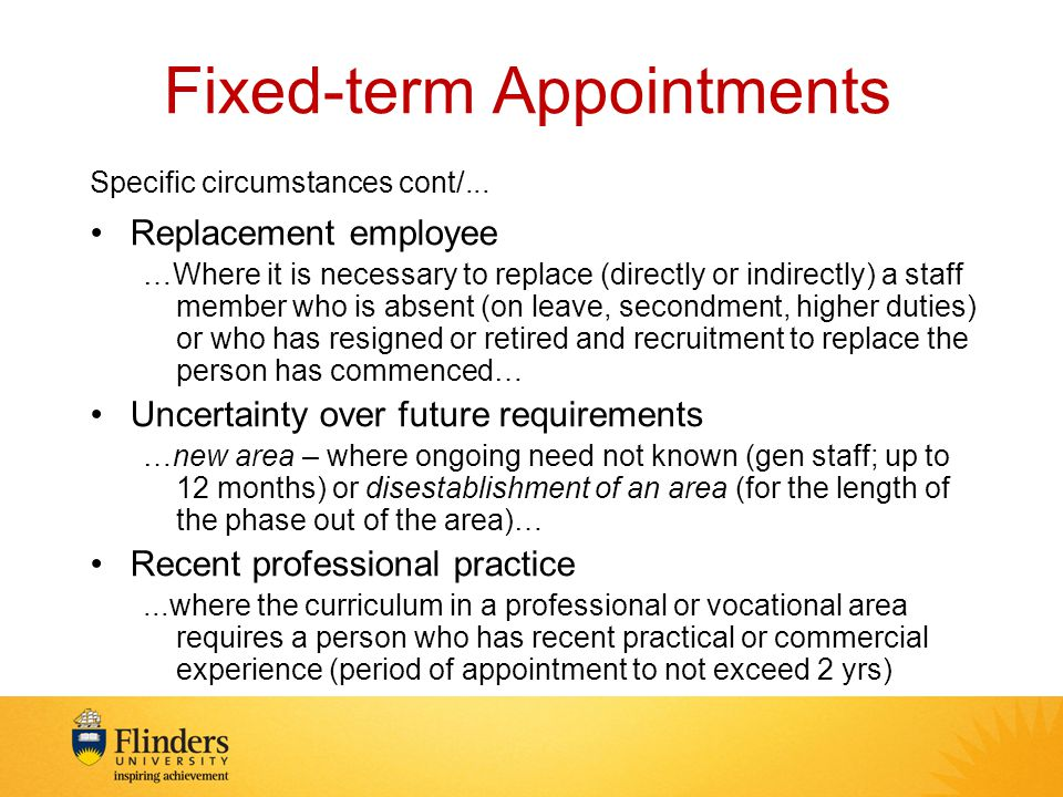 Fixed-term Appointments Specific circumstances cont/...