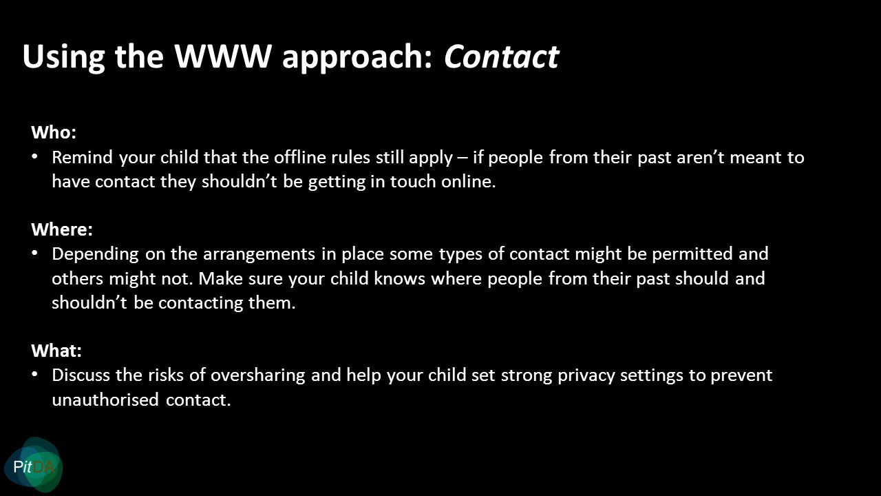 Using the WWW approach: Contact Who: Remind your child that the offline rules still apply – if people from their past aren't meant to have contact they shouldn't be getting in touch online.