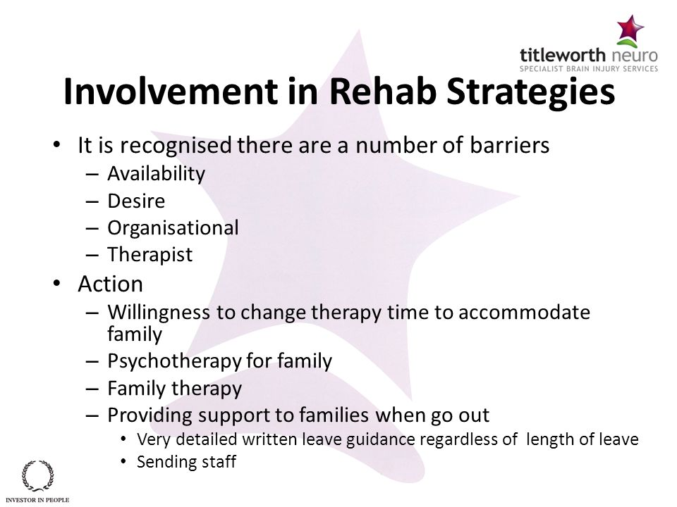 Involvement in Rehab Strategies It is recognised there are a number of barriers – Availability – Desire – Organisational – Therapist Action – Willingn
