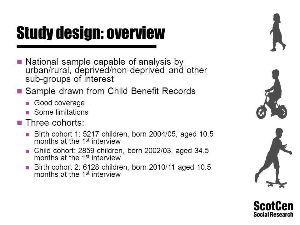 Study design: overview National sample capable of analysis by urban/rural, deprived/non-deprived and other sub-groups of interest Sample drawn from Child Benefit Records Good coverage Some limitations Three cohorts: Birth cohort 1: 5217 children, born 2004/05, aged 10.5 months at the 1 st interview Child cohort: 2859 children, born 2002/03, aged 34.5 months at the 1 st interview Birth cohort 2: 6128 children, born 2010/11 aged 10.5 months at the 1 st interview