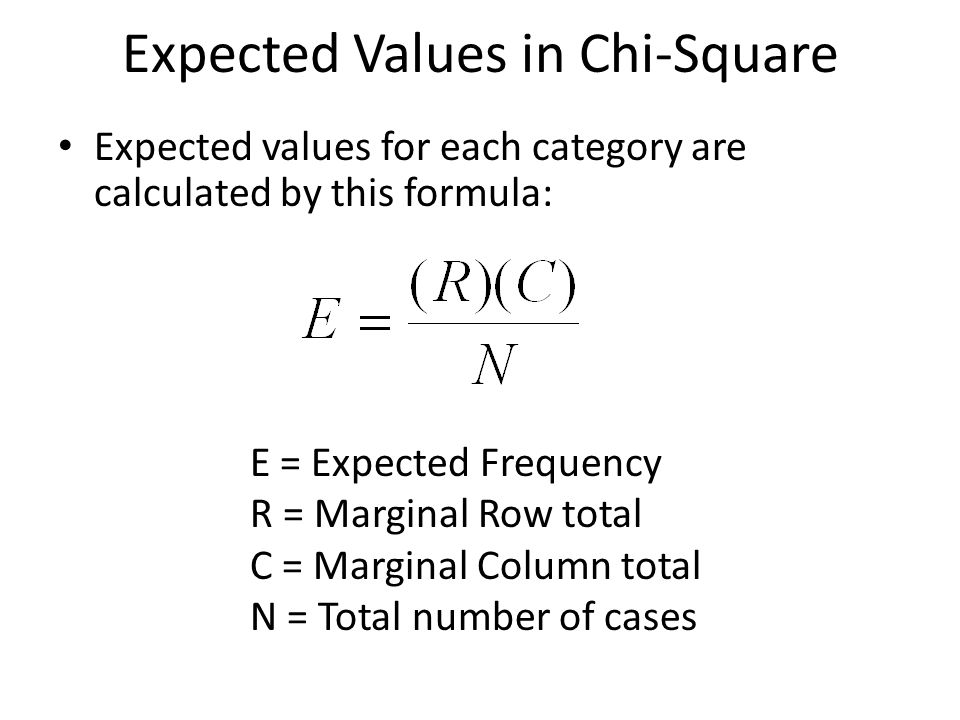 Expected Values in Chi-Square Expected values for each category are calculated by this formula: E = Expected Frequency R = Marginal Row total C = Marg