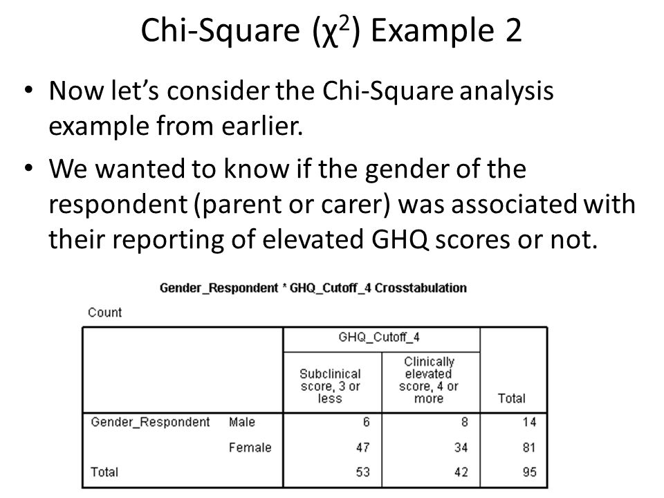Chi-Square (χ 2 ) Example 2 Now let's consider the Chi-Square analysis example from earlier. We wanted to know if the gender of the respondent (parent