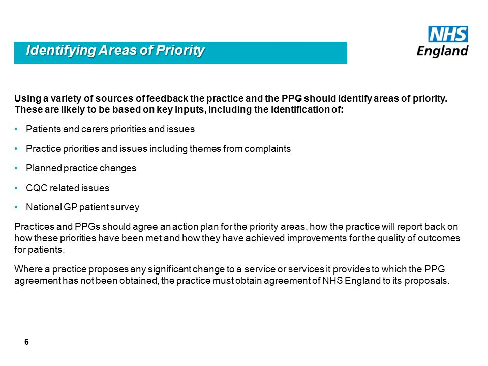 6 Identifying Areas of Priority Using a variety of sources of feedback the practice and the PPG should identify areas of priority.