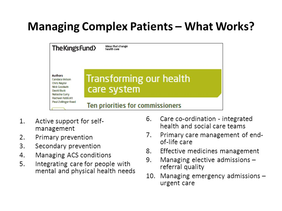 Managing Complex Patients – What Works.
