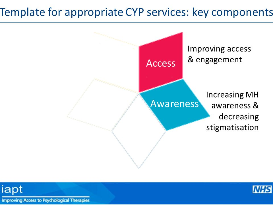 Improving access & engagement Access Awareness Increasing MH awareness & decreasing stigmatisation Template for appropriate CYP services: key components