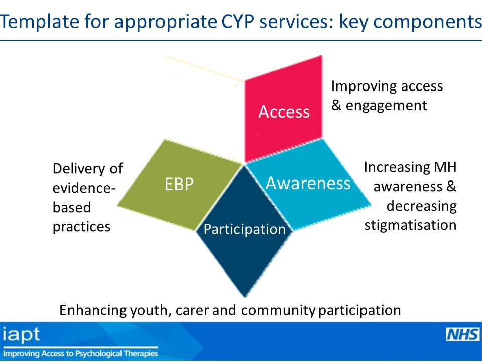 Improving access & engagement Access Awareness Increasing MH awareness & decreasing stigmatisation Participation EBP Delivery of evidence- based practices Template for appropriate CYP services: key components Enhancing youth, carer and community participation
